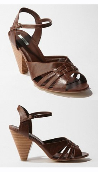 kimchi blue urban outfitters woven sandal woven sandal heel sandals low heel wooden heel brown shoes shoes