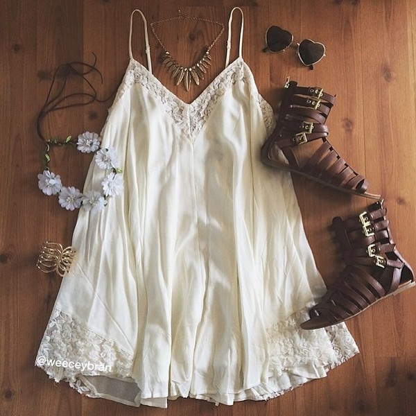 dress gladiators necklace heart sunglasses flower crown little white dress white dress jewels shoes coral hi low skirt white beige beige dress festival jumpsuit cream lace dress