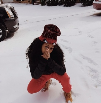 hat bahja rodriguez omg girlz baddies sexy gorgeous pink in the snow posted❤ pants jacket shoes