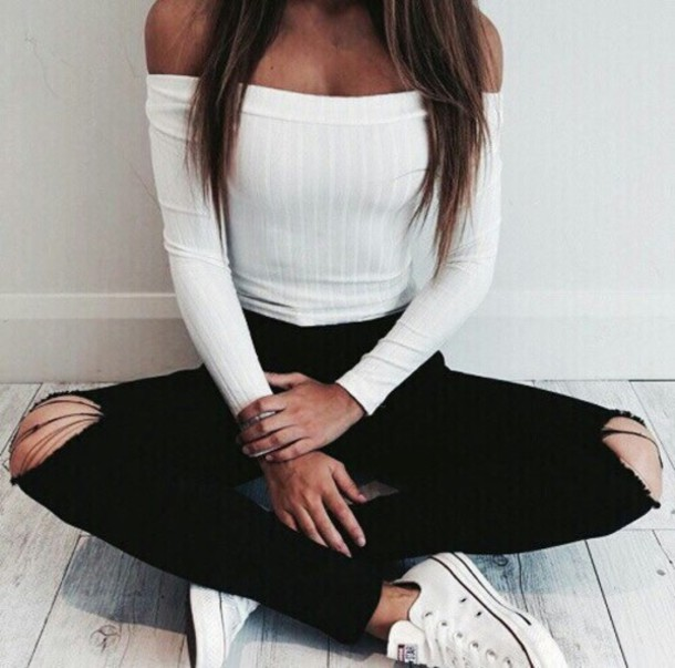 2f943a9f6f50 jeans black ripped jeans t-shirt white off the shoulder off the shoulder  top summer