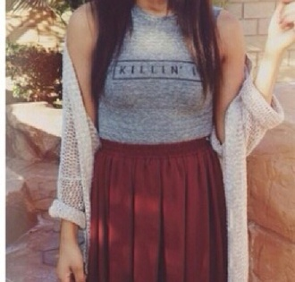 tank top killin' it skirt sweater summer outfits burgundy skirt grey