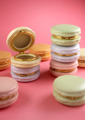 jewels box pastel macaroon cake purple mint yellow pink lavender gold cute kitchie