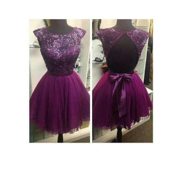 Line light purple sequins beaded short tulle homecoming dresses,prom dresses, party dresses