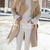Camel Long Sleeve Lapel Coat -SheIn(Sheinside)