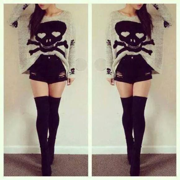 sweater black shorts skull sweater overknees overkneesocks socks