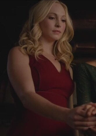 dress red v neck necklace candice accola caroline forbes the vampire diaries jewels
