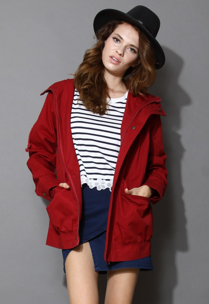 My Way Hooded Parka Coat in Wine - Retro, Indie and Unique Fashion