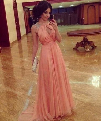 dress pink dress coral dress elegant dresses elegant dress long prom dress beautiful ball gowns