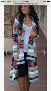 cardigan,tribal cardigan,sweater,clothes,aztec,mint,long sleeves,aztec sweater,cute cardigan,cute,native american,tribal print sweater,shoes,thigh high boots,knee high boots,brown boots,brown leather boots,blue,white,maroon/burgundy,jacket