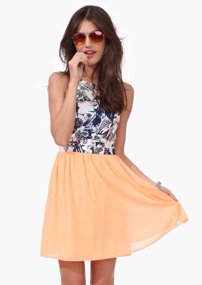 dress peach dress floral peach skirt black and white floral