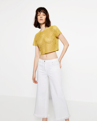 top crop tops yellow yellow top yellow crop top lace top lace crop top yellow lace zara
