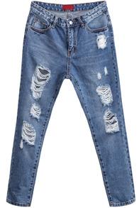 Denim Hose mit zerrissenem Design, blau-Sheinside