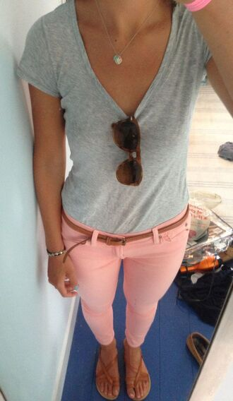 jeans coral jeggings coral light pink colored jeans summer outfits colorful colored pants tumblr outfit tumblr style jeggings