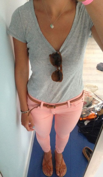 light pink jeans coral jeggings coral colored jeans summer outfits colorful colored pants tumblr outfit tumblr style jeggings