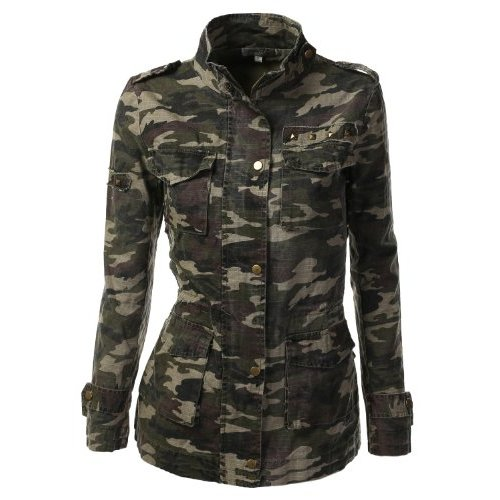 Buy Discount 9Xis Women's Camo Military Cotton Drawstring Jacket with Studs Reviews - US$31.99 - Fashion Womens Clothing