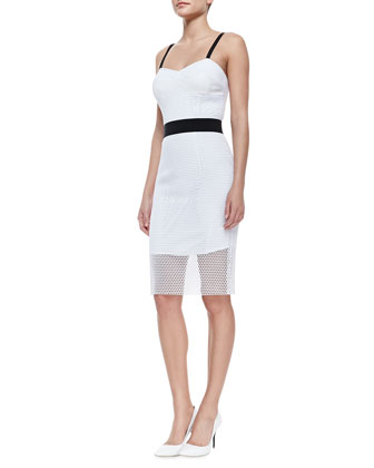 Milly Bustier Dress with Mesh Overlay, White/Black - Neiman Marcus