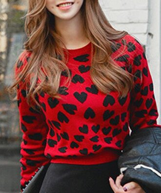 sweater red heart long sleeves style fashion cool refreshing jewel neck heart jacquard long sleeve sweater for women casual kawaii trendy winter sweater fall outfits heart sweater