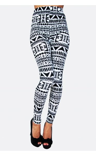 High Waist Tribal Aztec Print Leggings - Skinny Tribal Aztec Print ...