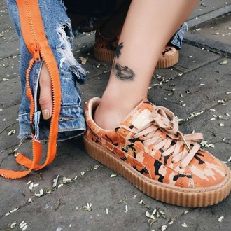 shoes camouflage orange fashion style trendy cool sneakers boogzel