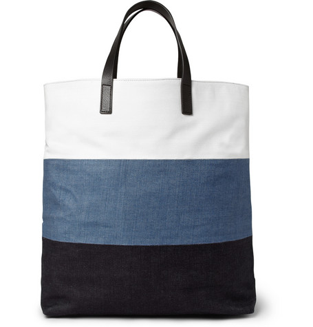 Wooyoungmi - Leather-Trimmed Panelled Cotton-Canvas Tote Bag | MR PORTER