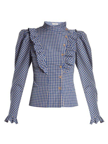 Vika Gazinskaya blouse high ruffle gingham white blue top