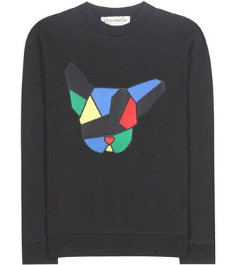 sweatshirt dog cotton black sweater