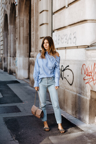shoes off the shoulder top tumblr sandals slide shoes denim jeans light blue jeans shirt blue shirt off the shoulder bag nude bag top