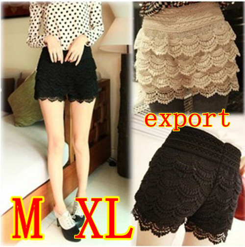 plus size Multilayer lace culotte Printing exposed high waist culotte lace skirts shorts tiered lace hot pants Drop shipping-in Shorts from Apparel & Accessories on Aliexpress.com