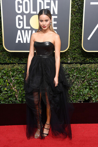 dress golden globes 2018 jamie chung high low dress black dress strapless bustier bustier dress sandals red carpet dress shoes prom dress gown
