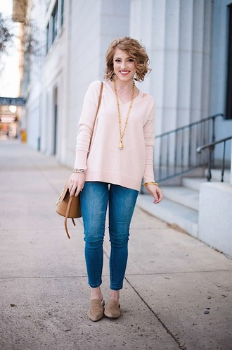 something delightful blogger sweater jeans bag jewels pink sweater loafers shoulder bag winter outfits