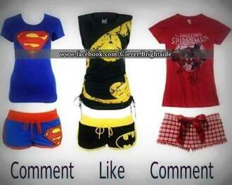 pajamas batman yellow superman red blue marvel