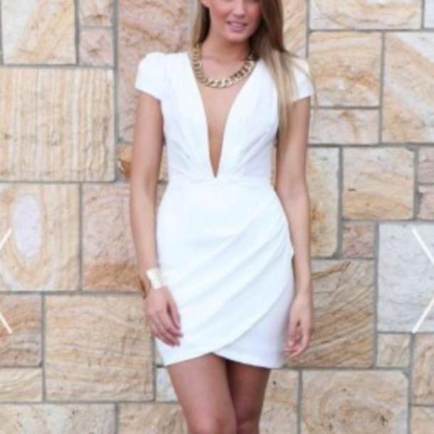 white dress plunge v neck plunge neckline v neck dress a0e0229c5