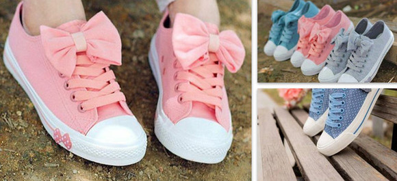 converse pastel pink bows pikk ineed these now themmmm