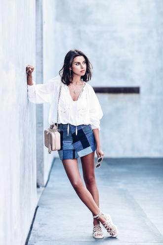 viva luxury blogger blouse skirt shoes long sleeves white blouse denim shorts chanel shoulder bag lace up lace up flats