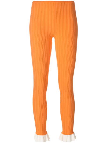 Esteban Cortazar leggings women cotton yellow orange pants