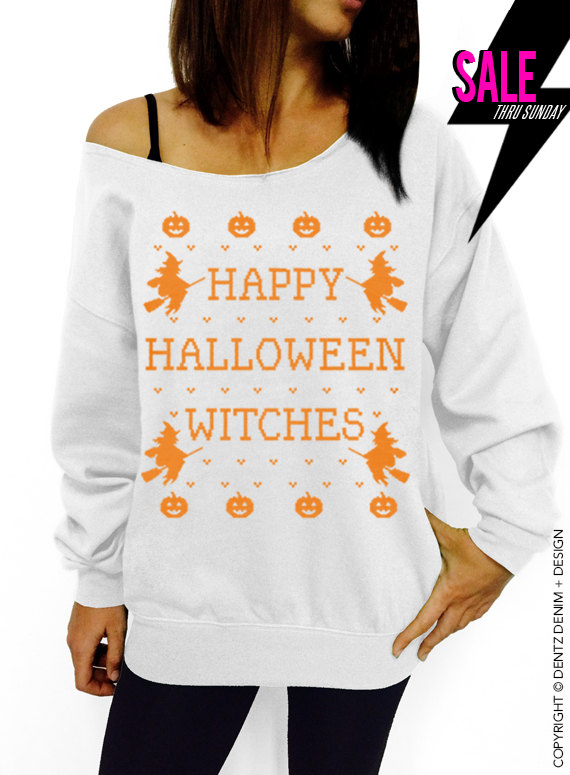 halloween shirt happy halloween witches white with orange slouchy oversized sweatshirt