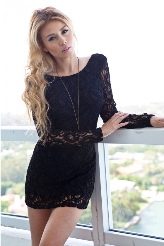 Lara Black Lace Dress