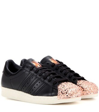 metal sneakers leather black shoes