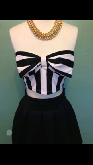 stripes shirt bow bandeau crop tops black and white strapless shirt