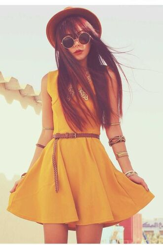 dress yellow dress belt sunglasses hat brown hat mustard