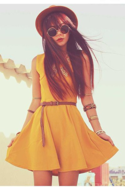 dress yellow dress belt sunglasses hat brown hat mustard mustard dress