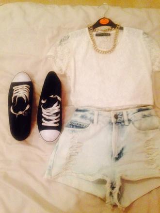 t-shirt white t-shirt lace top white crop tops