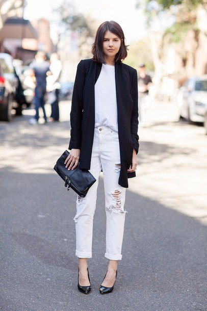 jeans white shirt black blazer white distressed jeans black purse black heels blogger