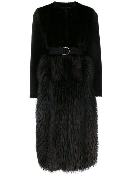 coat fur fox women leather brown