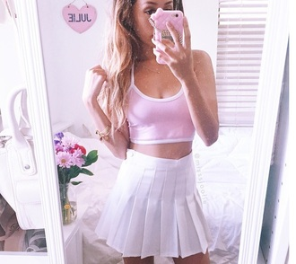 tank top girly fashion pink white halter top halter neck crop cropped smmer light pink pastel instagram found on instagram ootd outfit summer spring warm trendy preppy flirty funny shirt socks skirt