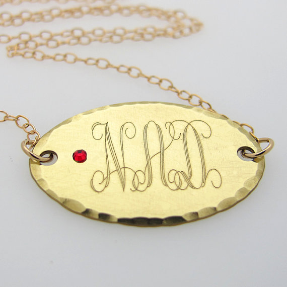 Gold Monogram Initial Necklace with Birthstone Crystal / Personalized Oval Pendant Necklace / Engraved Necklace / Monogram Jewelry for her