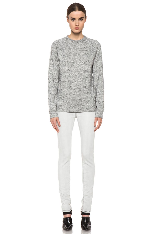 T by Alexander Wang|Crew Neck Sweatshirt in Light Heather Grey