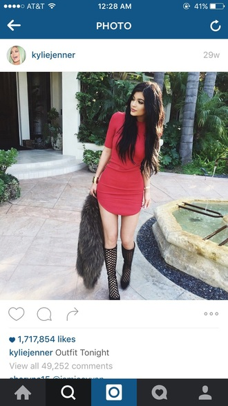 dress red style kylie jenner red dress shoes