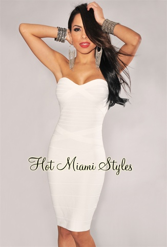 Ivory Strapless Knee Length Bandage Dress