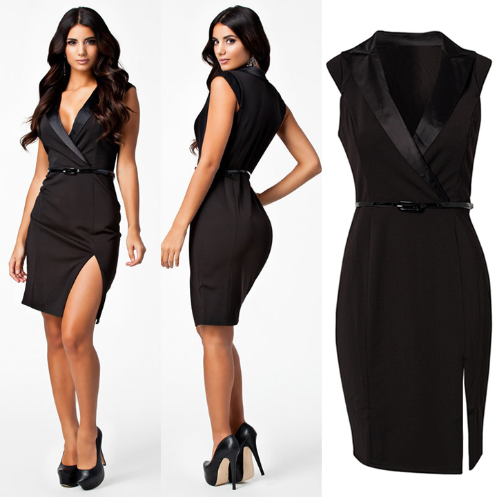 Deep V Tailored Collar with Belt Dress - iNDULGE in Fashion, LLC